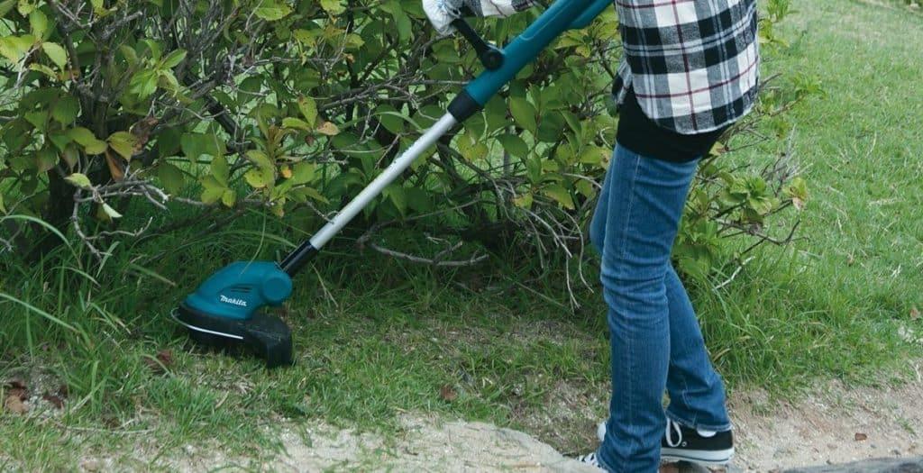 Frau trimmt Rasen am Gebüsch