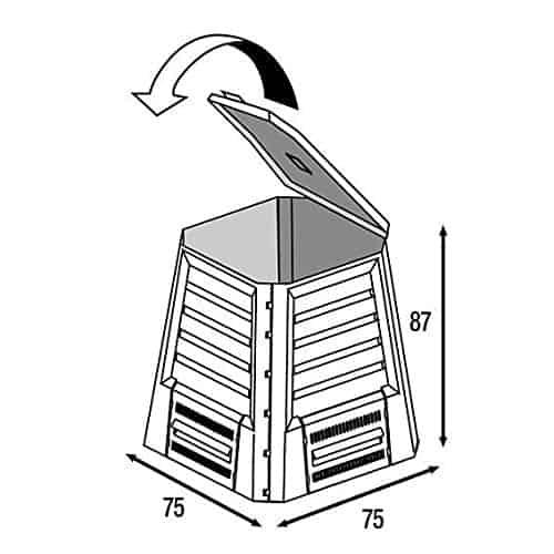 Technische Zeichnung eines Schnellkomposters